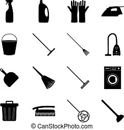 Set of cleaning icons, vector illustration
