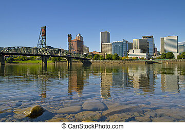 Portland Oregon Downtown Skyline Reflection 2 - Portland...