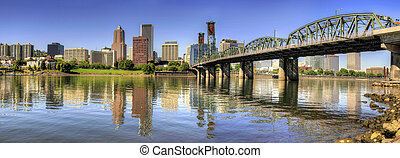 Portland Oregon Downtown Skyline Panorama - Portland Oregon...