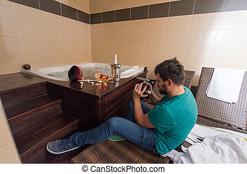 man relaxing in the jacuzzi