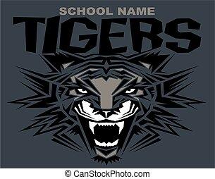 tribal tiger mascot team design for school, college or...
