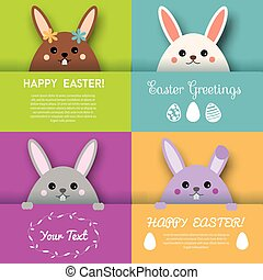 Happy Easter greeting card, background vector design template. Cute bunny character looking out from paper pocket
