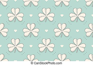 Seamless irish green pattern with clover and heart