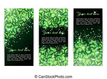 Set of banners with sparkling shamrock - A set of vertical...