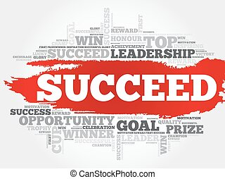 Succeed word cloud, business concept