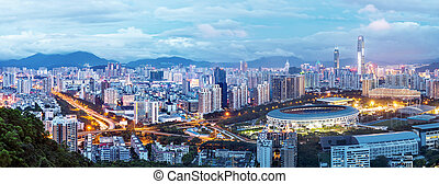 China's Shenzhen city in the night - Aerial view of Shenzhen...