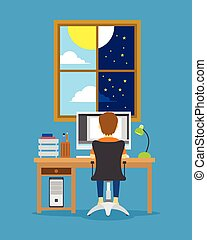 man work from day to night illustration vector