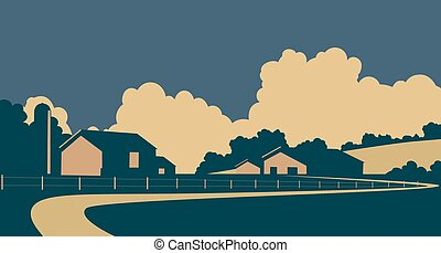 Country farm - Vector illustration of a rural farm in...