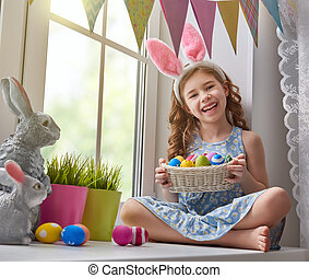 girl wearing bunny ears - Cute little child wearing bunny...