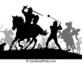Medieval war - Vector silhouette illustration of a medieval...