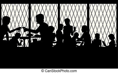 Restaurant window - Vector illustration of people dining in...