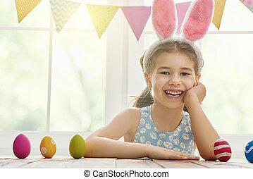 girl wearing bunny ears - Happy Easter! Cute little child...