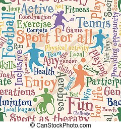 Sport for all seamless tile - Vector seamless tile of people...
