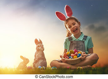 girl wearing bunny ears - Cute little child wearing bunny...