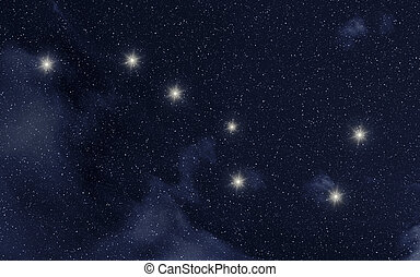 Ursa Major constellation in night sky with stars