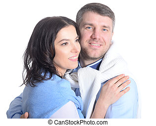 Happy young couple on a white background - Portrait of a...