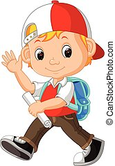 cute boy with backpack cartoon