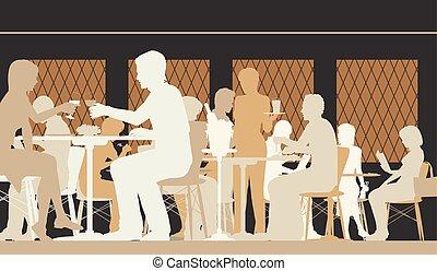 Toned restaurant scene - Vector silhouette illustration of...