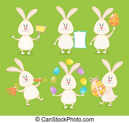 Set of cute Easter rabbits with Easter eggs and banners. -...