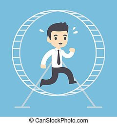 Businessman running in hamster wheel