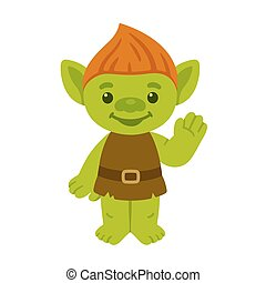 Cute cartoon troll or goblin smiling and waving. Childrens...