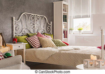 Interior with marital bed - Bright bedroom interior with...