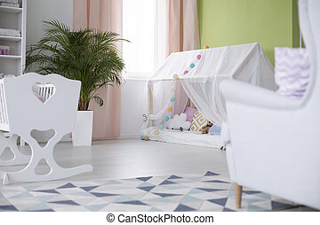 Crib and playhouse with canopy - Crib and white playhouse...