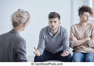 Therapy for married couples - Man and woman during therapy...