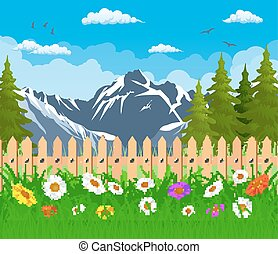 summer garden landscape. Mountain Landscape with forest and...