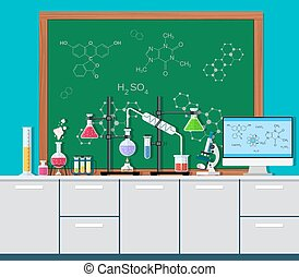 Laboratory equipment, jars, beakers, flasks, microscope,...