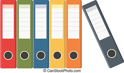 Set of colored ring binders