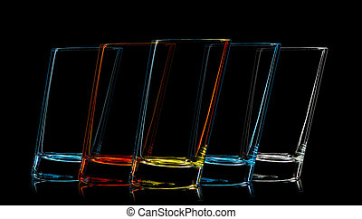 Silhouette of multicolor glass for shot on black background.