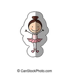 sticker colorful caricature caricature girl ballet dancer...