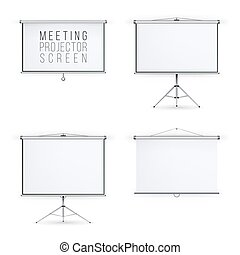 Meeting Projector Screen Vector Set. White Board Presentation Conference With Tripod And Hanging. Empty White Board Presentation And Showing Your Project Illustration