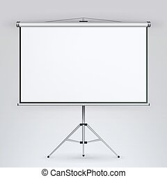Meeting Projector Screen Vector. White Board Presentation...