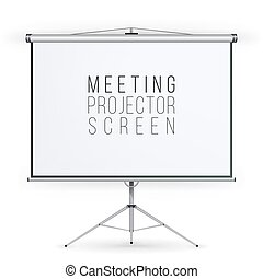 Meeting Projector Screen Vector. Presentation Bblank Whiteboard. Realistic Standing Tripod Projector For Seminar And Presentation