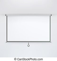 Meeting Projector Screen Vector. Hanging Projection Screen Isolated On White. Empty Presentation Board, Blank Whiteboard For Conference.