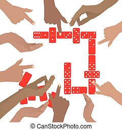 Hands playing dominoes red. On a white background....