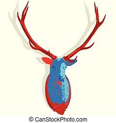 Popatr mounted deer head. Stuffed stag antlers. Hunting...