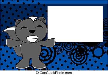 happy skunk emotion cartoon background - funny skunk emotion...