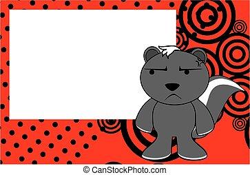 anoying skunk emotion cartoon background - funny skunk...