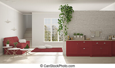 Scandinavian white and red minimalist living with kitchen, open space, one room apartment, classic interior design
