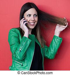 beautiful smiling girl talk on smartphone - beautiful...