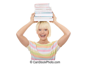 Student - Young caucasian woman (student) with books on her...