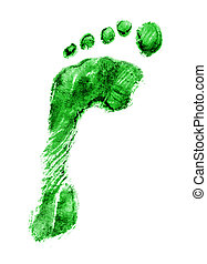Left foot print green - A light green print of a left foot