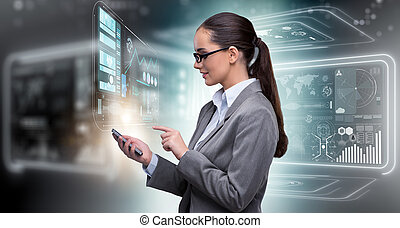 Woman in internet banking concept