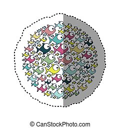 sticker colorful circular pattern fish aquatic animal