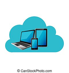 cloud storage with set collection realistic tech devices