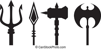 ancient weapons outline vector on white background