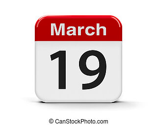 19th March - Calendar web button - The Nineteenth of March -...